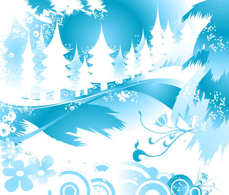 winter landscape with fir tree forest; Christmas illustration Stock Illustration - 2048371