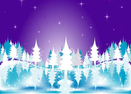 winter landscape with fir tree forest; Christmas illustration Stock Illustration - 2048402