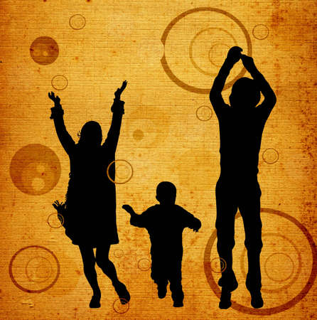 illustration of an urban scene with a familly silhouettes illustration