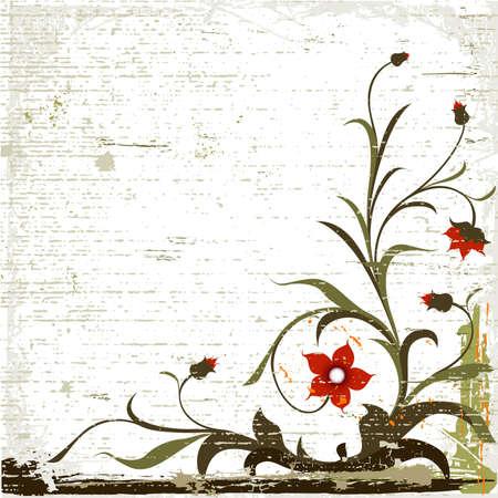 grunge floral design with decorative textured background photo