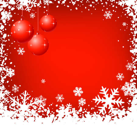 shiny christmas balls on snowflakes background; illustration Stock Illustration - 2048398
