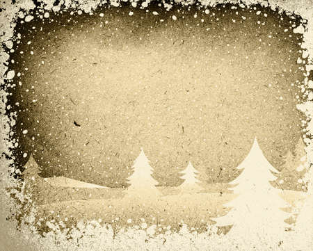 seasonable: fir forest in wintertime with falling snow