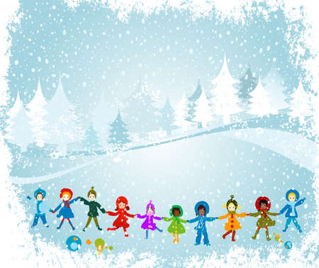 children playing in a winter landscape; Christmas illustration illustration