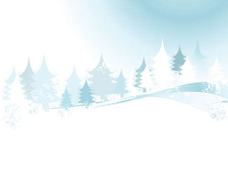 winter landscape with fir tree forest; Christmas illustration Stock Illustration - 2079984