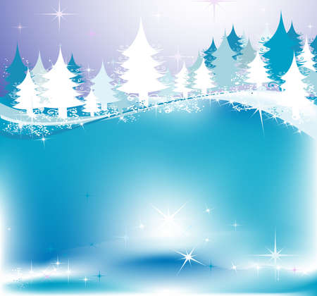 winter landscape with fir tree forest; Christmas illustration Stock Illustration - 2080010