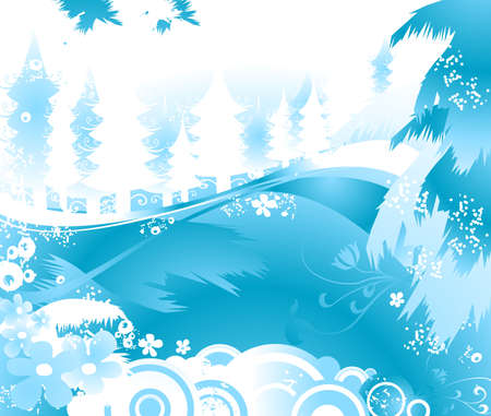 winter landscape with fir tree forest; Christmas illustration Stock Illustration - 2080011