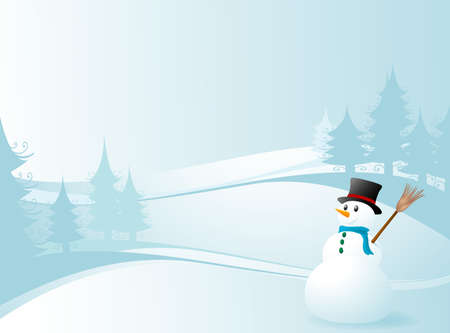 seasonable: winter design with snowman in fir tree landscape