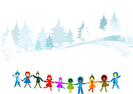 seasonable: children playing in a winter landscape; Christmas illustration