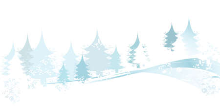 merrytime: winter landscape with fir tree forest; Christmas illustration