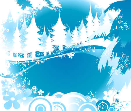 winter landscape with fir tree forest; Christmas illustration Stock Illustration - 2135322
