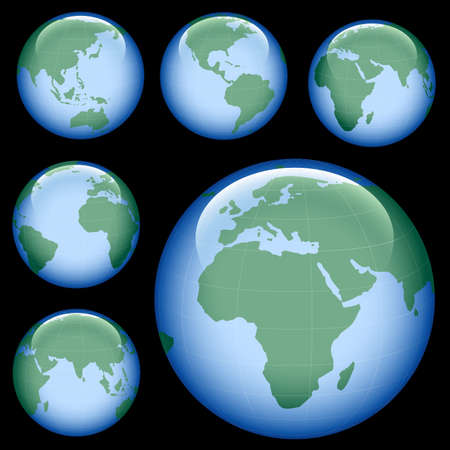 meridian: shiny planet earth map from six views; illustration Stock Photo
