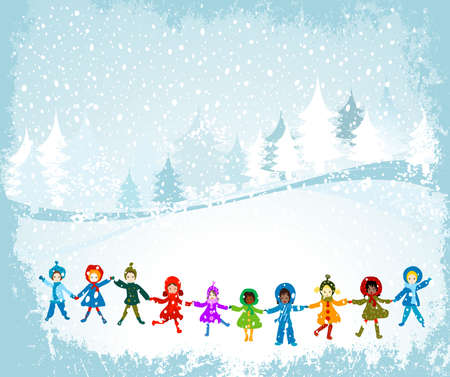 children playing in a winter landscape; Christmas illustration Stock Illustration - 2190733