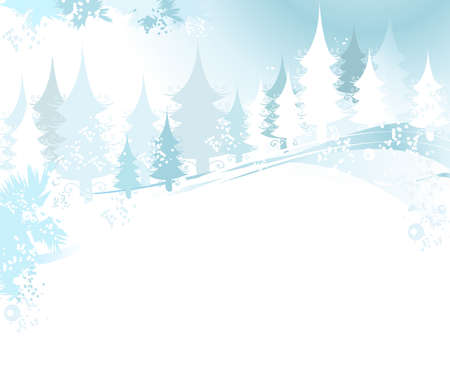 winter landscape with fir tree forest; Christmas illustration Stock Illustration - 2190707