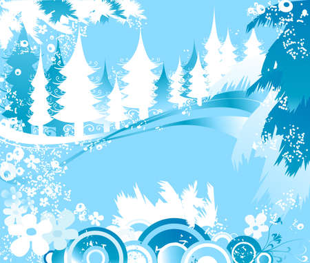 winter landscape with fir tree forest; Christmas illustration Stock Illustration - 2190735