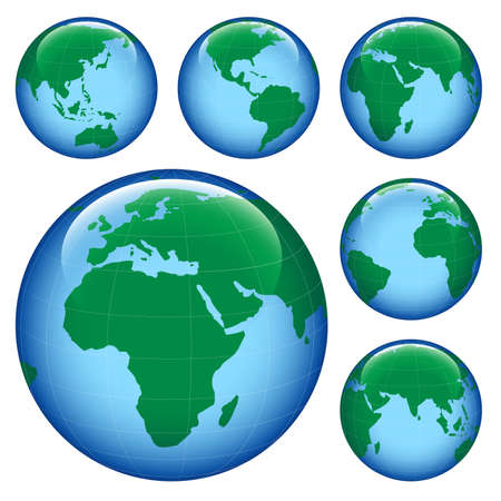 parallel world: shiny planet earth map from six views; illustration Stock Photo