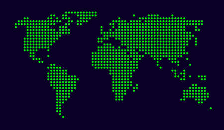 world map made from small dots; illustration illustration
