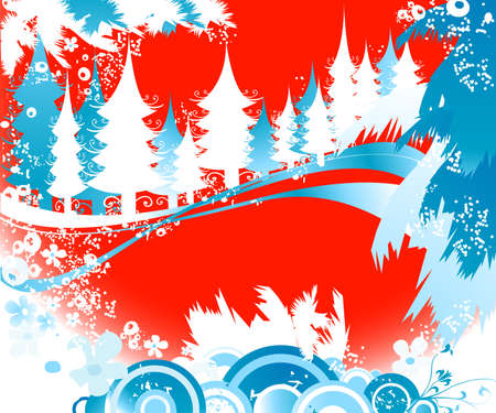 winter landscape with fir tree forest; Christmas illustration Stock Illustration - 2225163