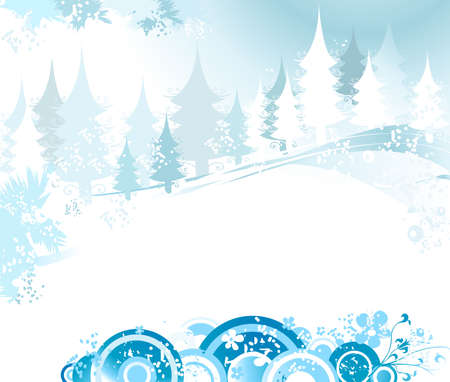 winter landscape with fir tree forest; Christmas illustration Stock Illustration - 2225147