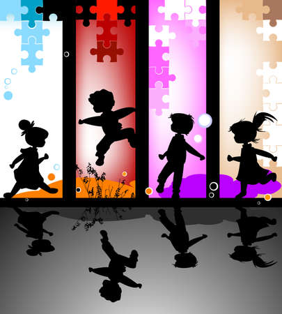 puzzle shadow: kids silhouettes running and jumping against an abstract background