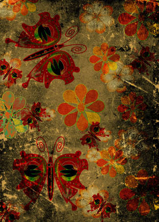 scarp: butterflies and flowers on grunge scraped paper Stock Photo