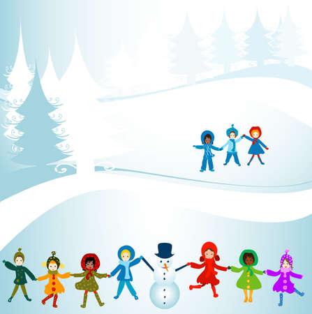 children playing in a winter landscape; Christmas illustration Stock Illustration - 2242503