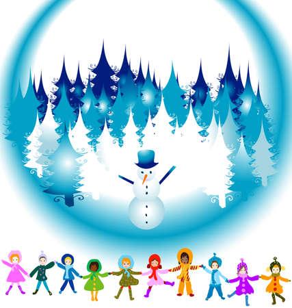 children playing in a winter landscape; Christmas illustration Stock Illustration - 2242525