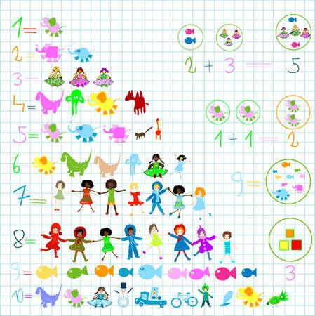 children world; preschool elements: kids, animals, numbers  photo