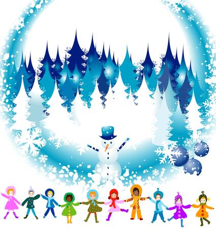 children playing in a winter landscape; Christmas illustration Stock Illustration - 2256847