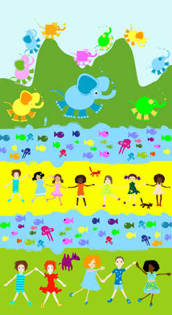 children playing with toys: kids world; children playing, toys, elephants and other little animals
