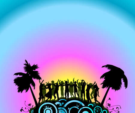 silhouette people dancing on the party island Stock Photo - 2379258