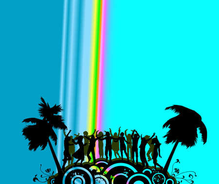 silhouette people dancing on a party island Stock Photo - 2385350