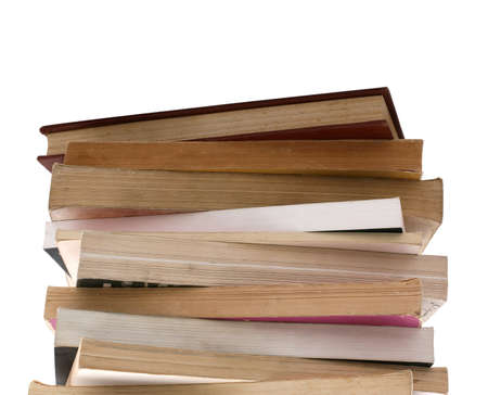 educating: stack of old books isolated on white