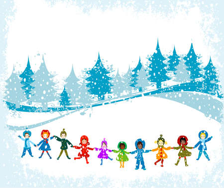 children playing in a winter landscape; Christmas illustration Stock Illustration - 2454501