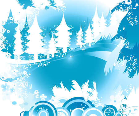 winter landscape with fir tree forest; Christmas illustration Stock Illustration - 2454502