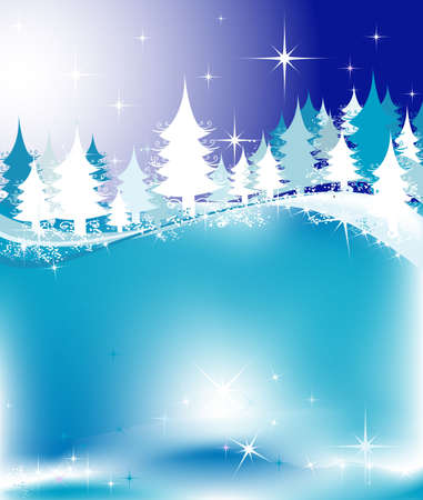 winter landscape with fir tree forest; Christmas illustration Stock Illustration - 2465011