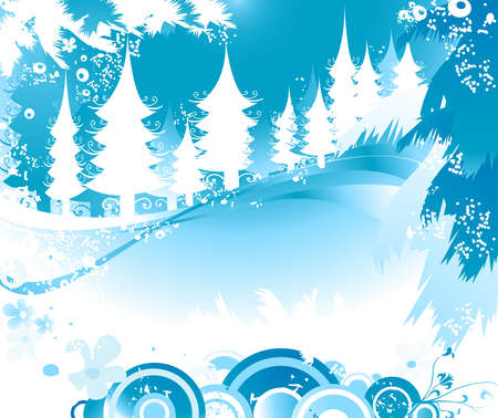 winter landscape with fir tree forest; Christmas illustration Stock Illustration - 2465016