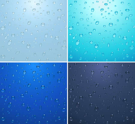 transparent water drops on light blue background photo