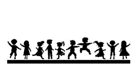kind silhouet: Kids silhouetten Stockfoto