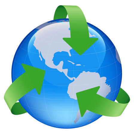 environment geography: illustration of globe world map with recycle arrow symbol