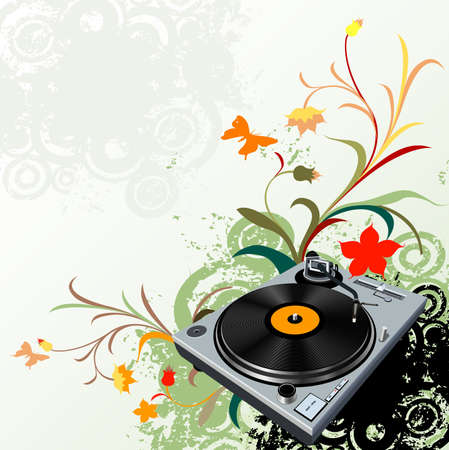 turntable on floral grunge background Stock Photo - 2508351
