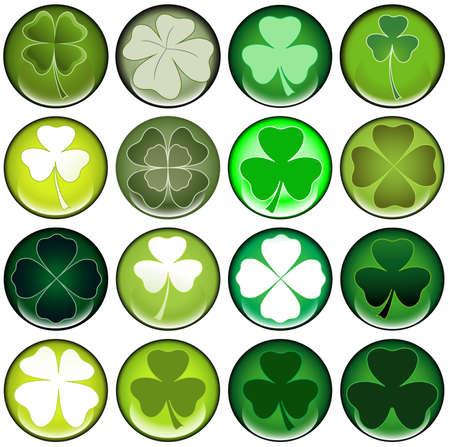 fourleafed: clover round web buttons with different shiny green colors