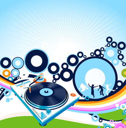 abstract design with turntable and rainbow Stock Photo - 2532034