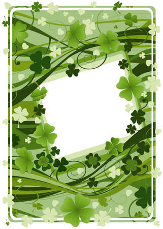 design for St. Patrick's Day with four and three leaf clovers Stock Photo - 2557811