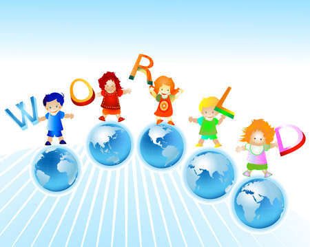 mundo; niños y el planeta tierra  Foto de archivo - 2557792