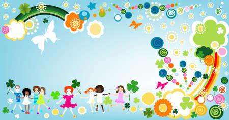 kids enjoying springtime  photo