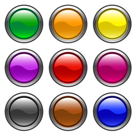 round web buttons with different shiny colors photo