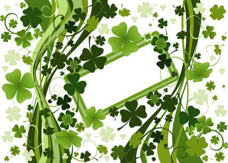 design for St. Patrick's Day with four and three leaf clovers Stock Photo - 2574796