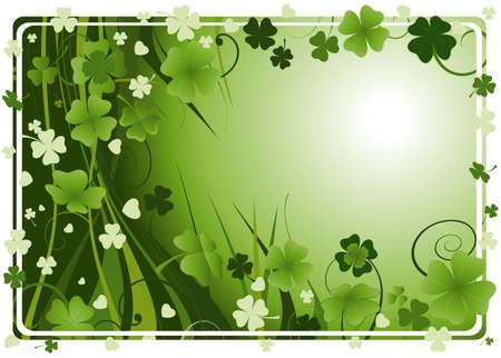 design for St. Patrick's Day with four and three leaf clovers Stock Photo - 2574776
