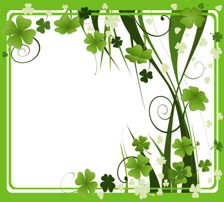 design for St. Patrick's Day with four and three leaf clovers  Stock Photo - 2574788