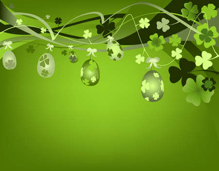 fourleafed: design for spring with Easter eggs and clovers  Stock Photo